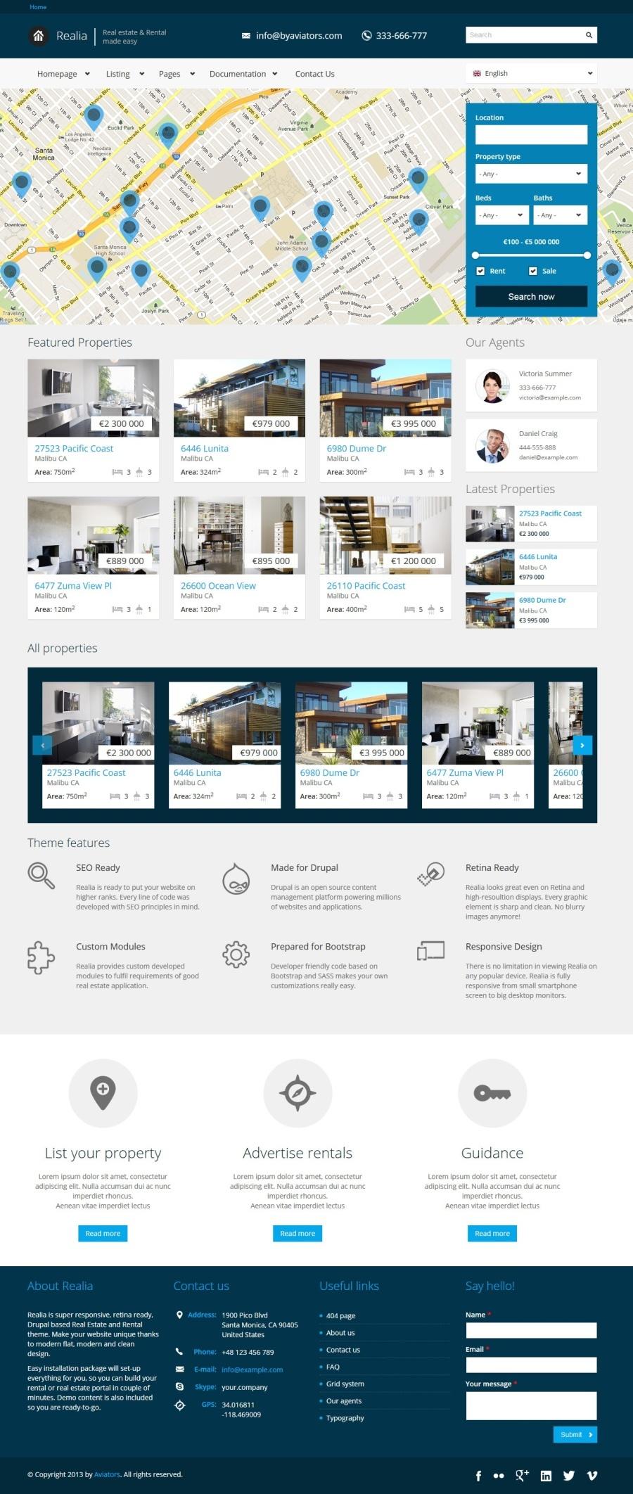 Realia Responsive Real Estate Drupal Theme By Aviators Themeforest