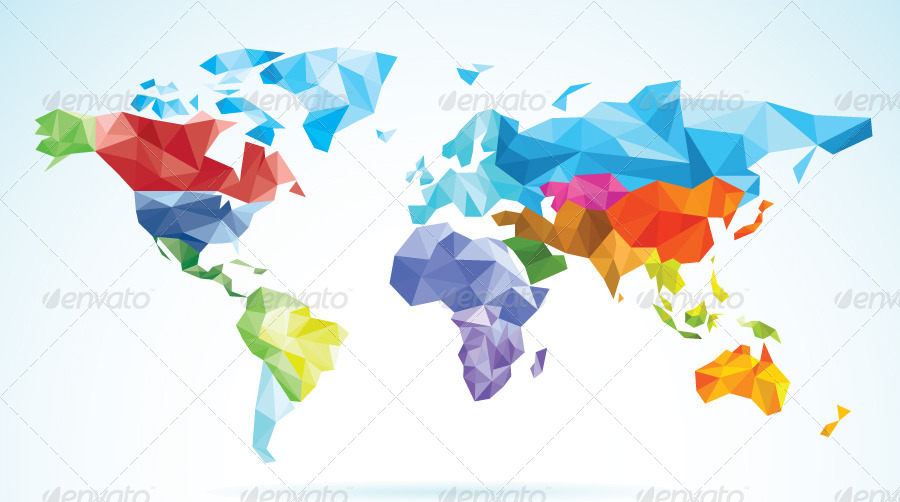 Nice World Map Low Poly