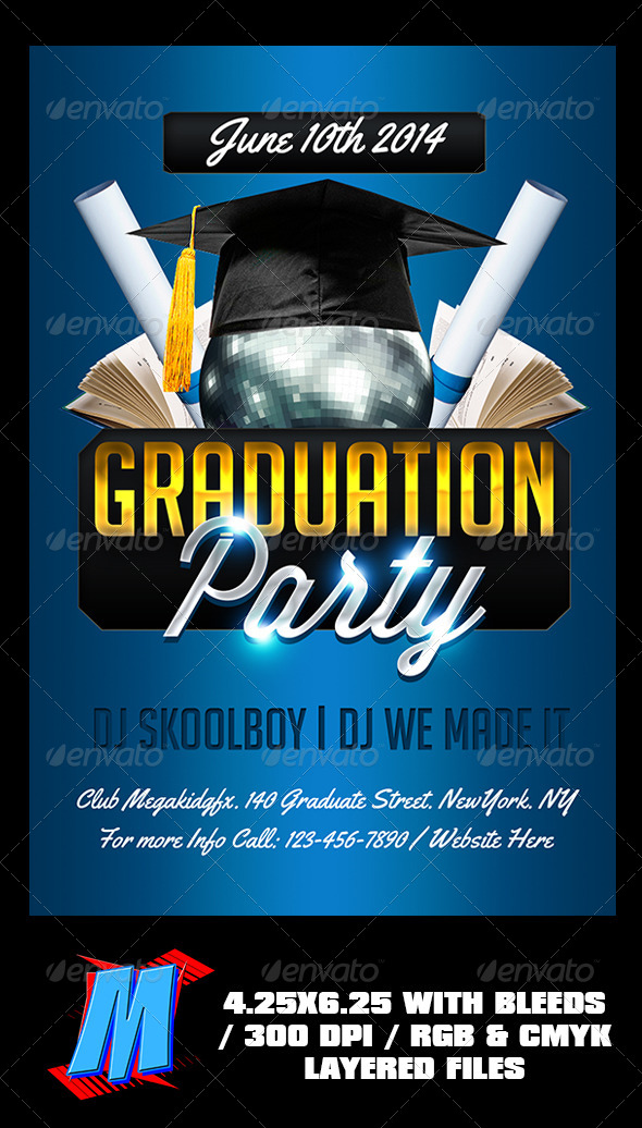 Graduation Party Flyer Template By Megakidgfx  Graphicriver