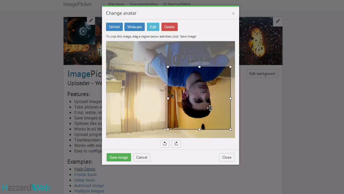 imagepicker: uploader - webcam - cropperhazzardweb | codecanyon