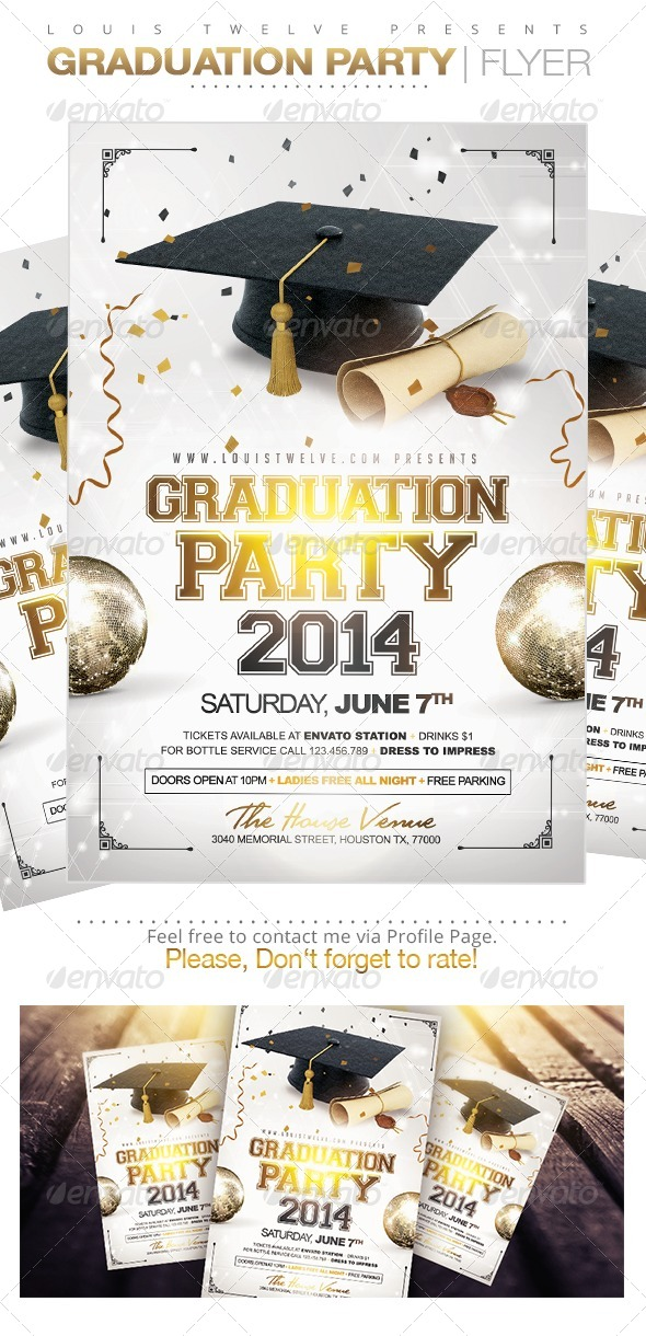 Graduation Party | Flyer Template   Clubs U0026 Parties Events