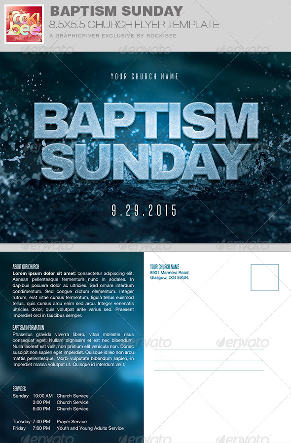 free flyer templates for church events - baptism sunday church flyer invite template by rockibee