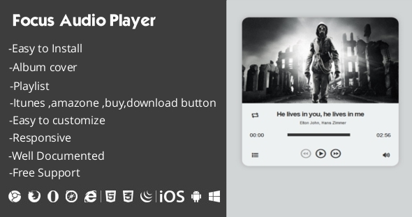 Focus Audio Player With Playlist  - CodeCanyon Item for Sale