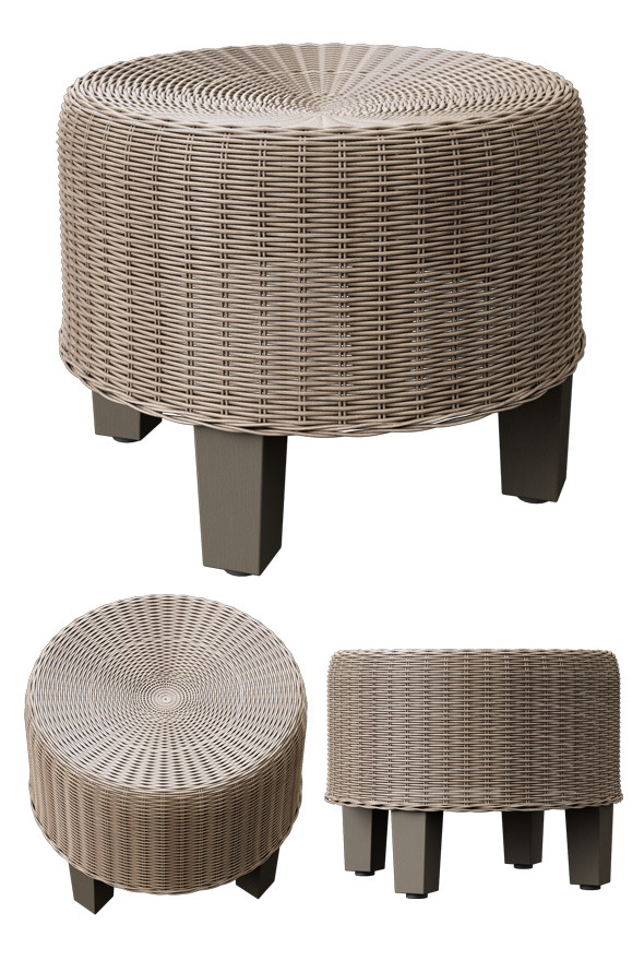 Rattan pouf  - 3DOcean Item for Sale