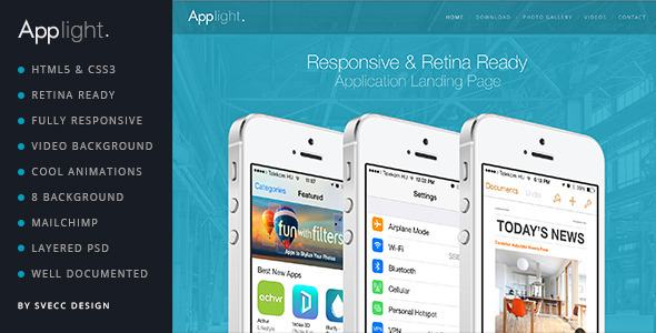 AppLight – Responsive One Page Scroll App Theme