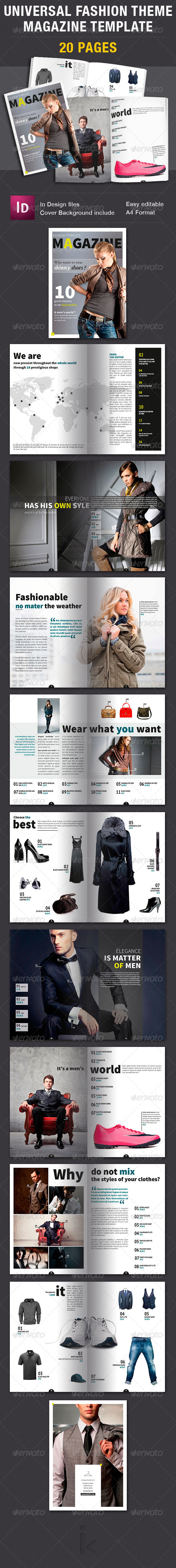 Universal Fashion Theme Magazine Template - Magazines Print Templates