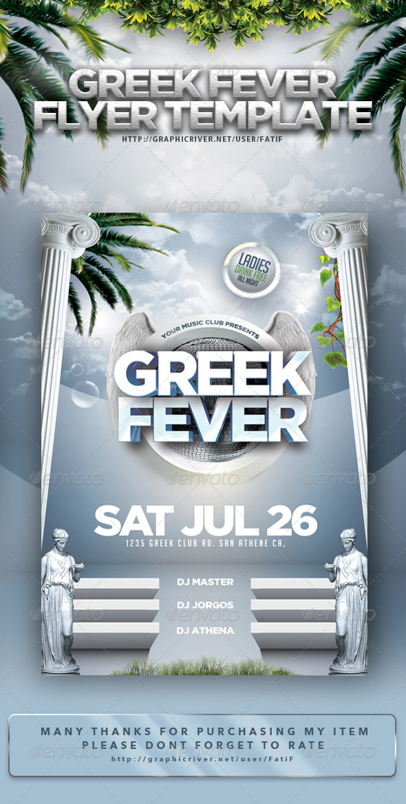 greek fever flyer template clubs parties events