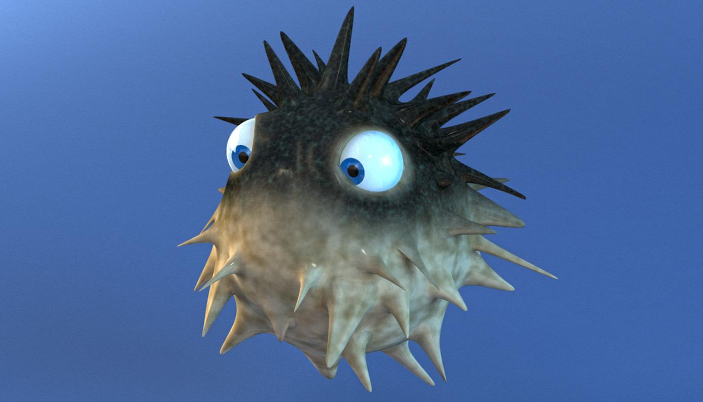 Cartoon Puffer Fish Rigged By Wobblefin 3docean