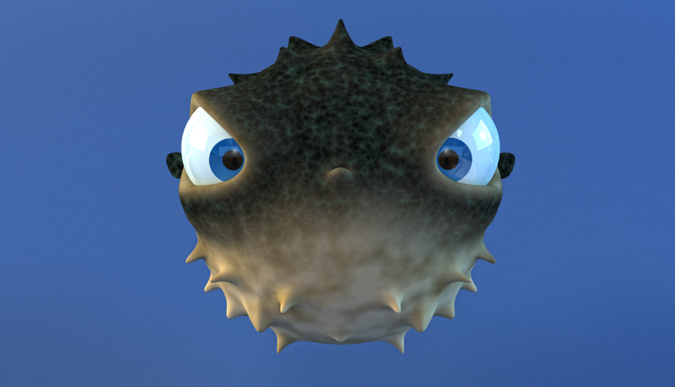 Cartoon puffer fish rigged by wobblefin 3docean for Puffer fish images