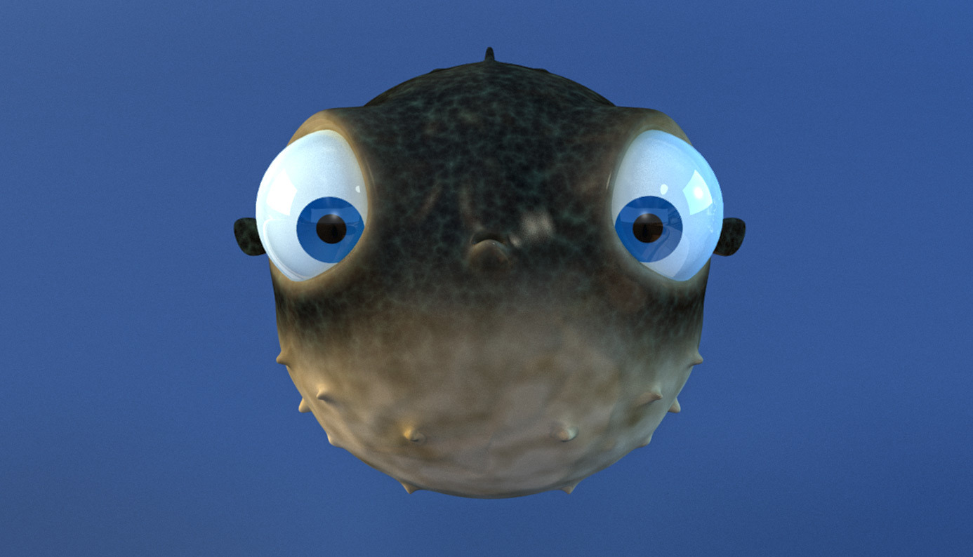 Cartoon puffer fish rigged by wobblefin 3docean for Puffer fish for sale