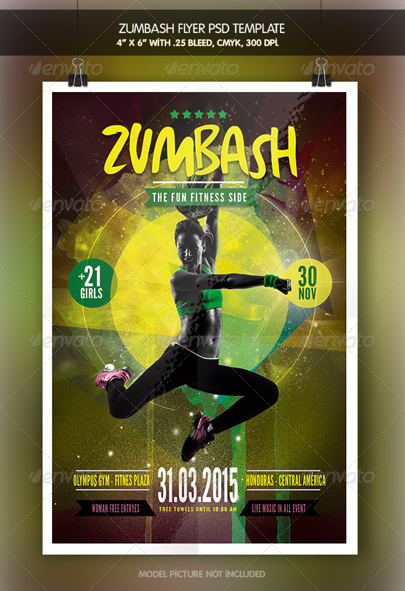 Zumbash fitness flyer template by zacomic graphicriver zumbash fitness flyer template miscellaneous events toneelgroepblik Gallery