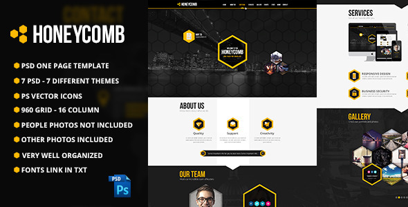 Honeycomb One Page PSD Template