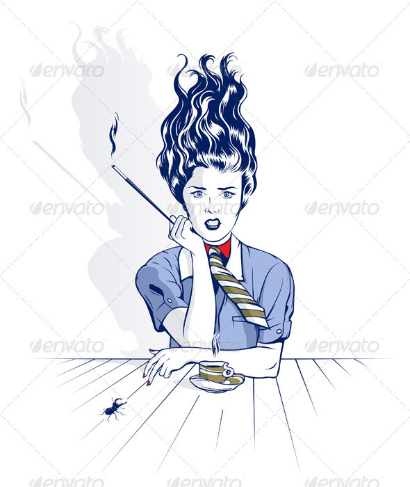 Smoke Cartoon Woman  - People Characters