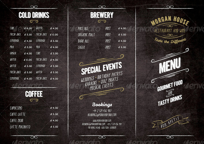 Food Menu  Blackboard Restaurant Package By Marnica  Graphicriver