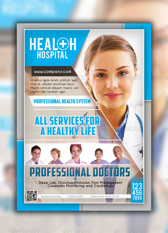 Health hospital flyer templates by graphicersan graphicriver for Hospital menu template