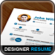 Designer Resume CV Template - GraphicRiver Item for Sale