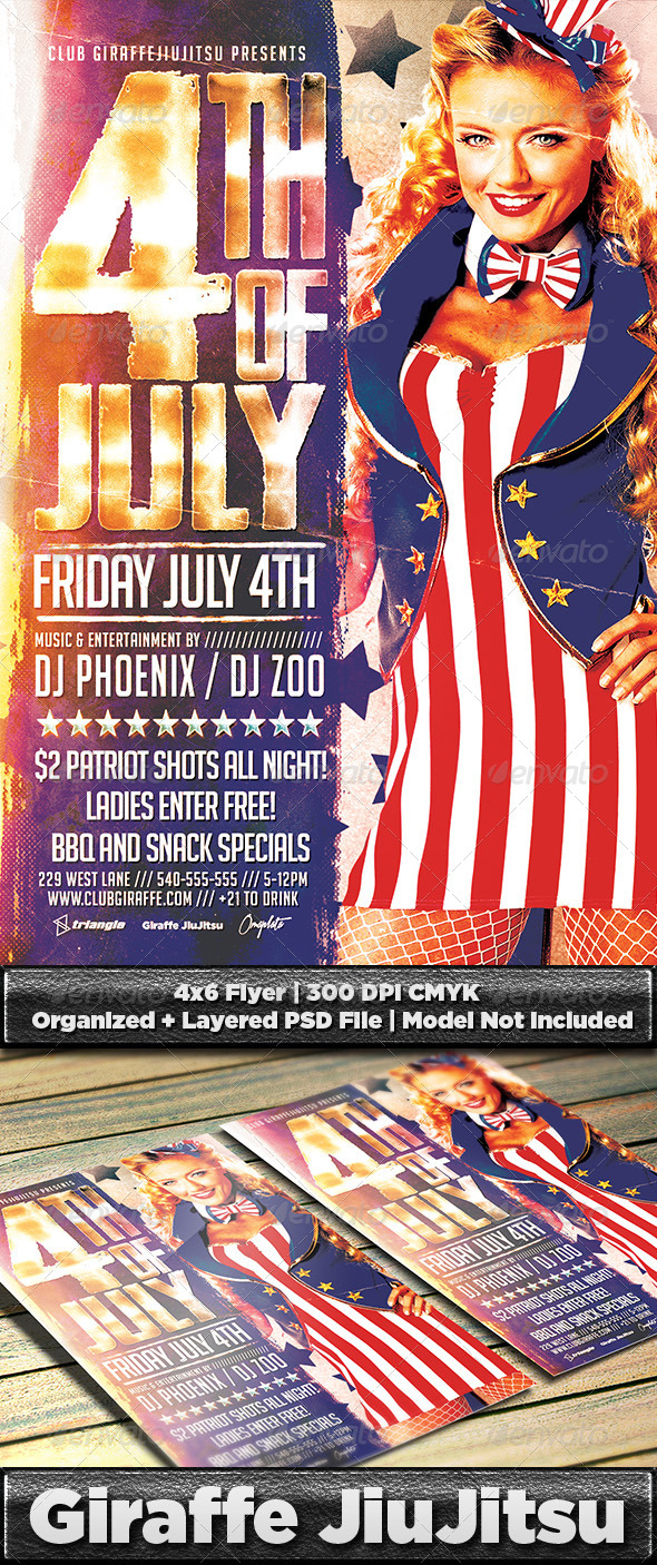 Retro 4th of July Flyer Template PSD - Clubs & Parties Events