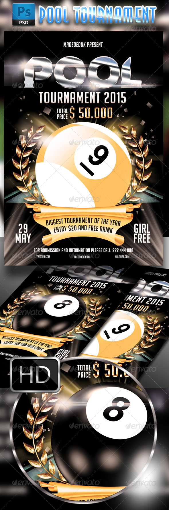 Pool Tournament 2015 Flyer Template by MadeDeduk | GraphicRiver