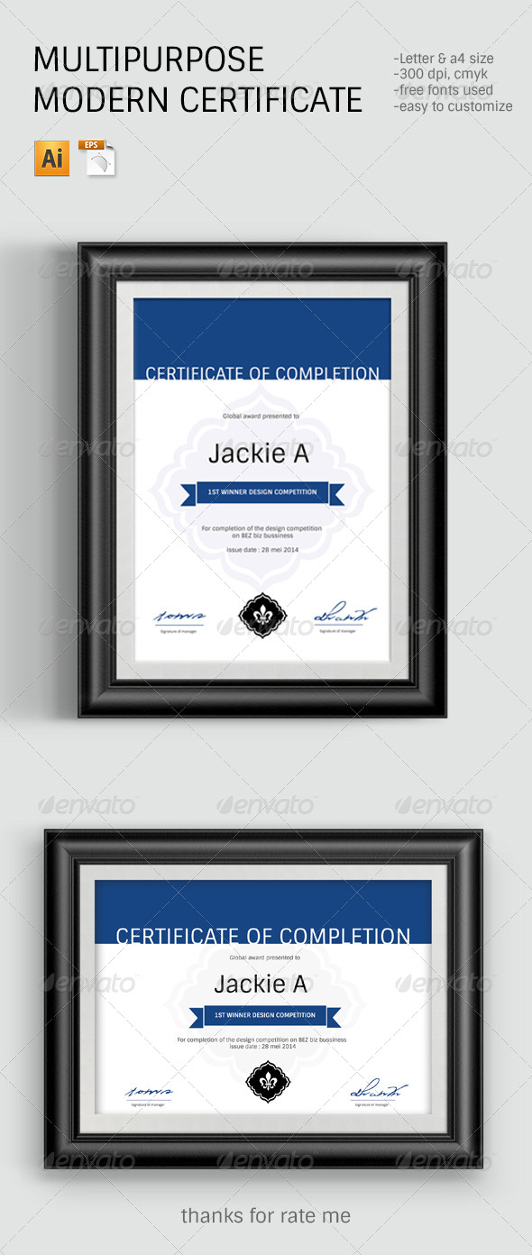 Modern Clean Certificate Template By Ramandhani Graphicriver