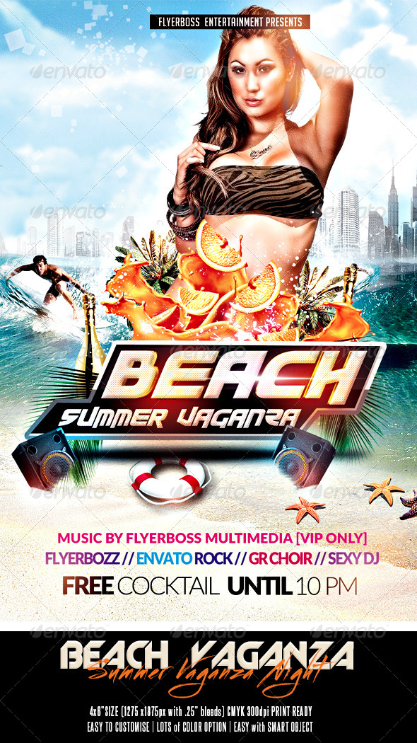 Beach - Summer Vaganza Flyer - Holidays Events