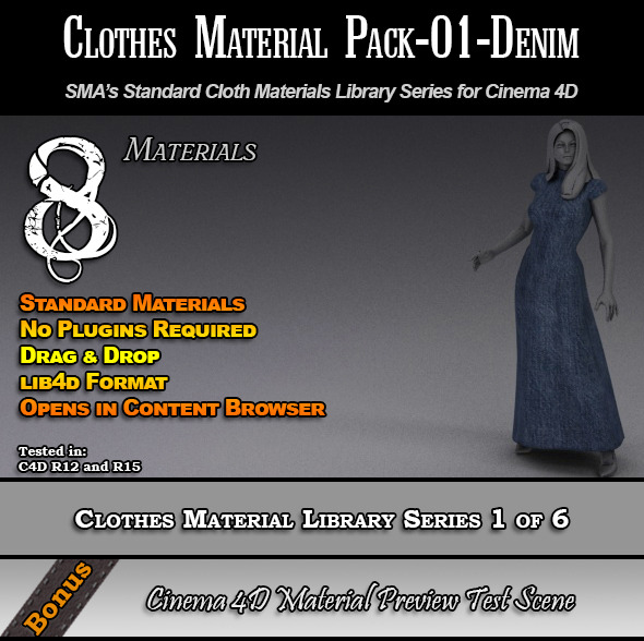 Standard Clothes Material Pack-01-Denim for C4D - 3DOcean Item for Sale