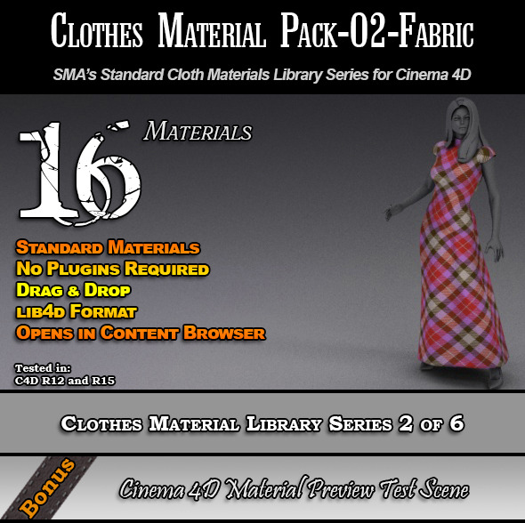 Standard Clothes Material Pack-02-Fabric for C4D - 3DOcean Item for Sale