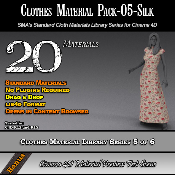 Standard Clothes Material Pack-05-Silk for C4D - 3DOcean Item for Sale