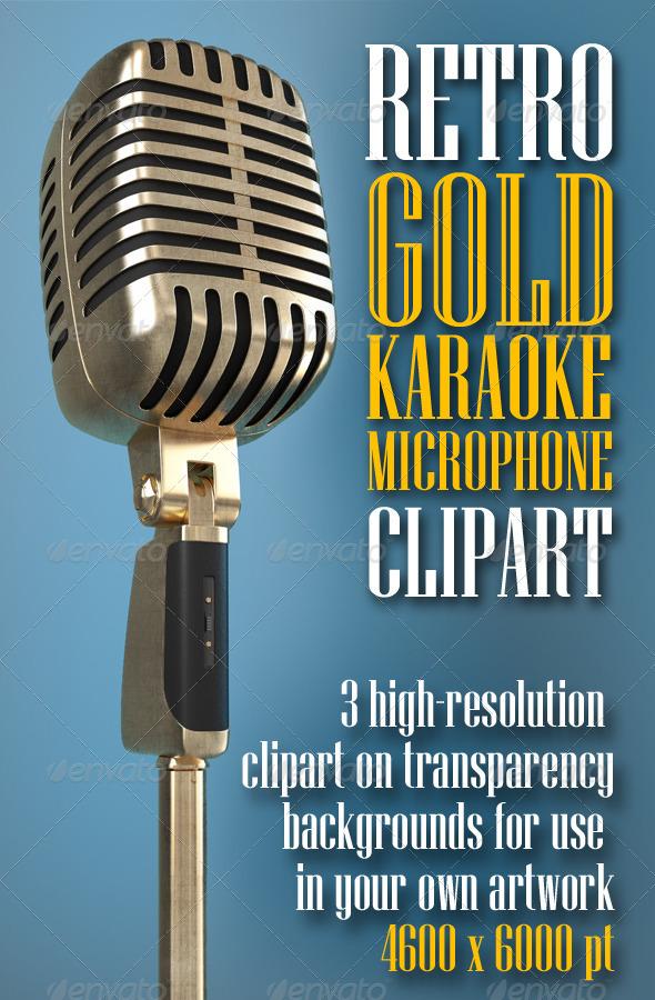 Karaoke Retro Microphone clipart - Objects 3D Renders