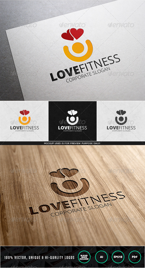 Love Fitness Logo Template - Humans Logo Templates