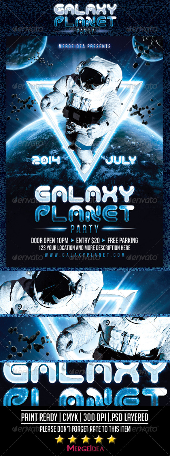 Galaxy Planet Party Flyer by MergeIdea | GraphicRiver