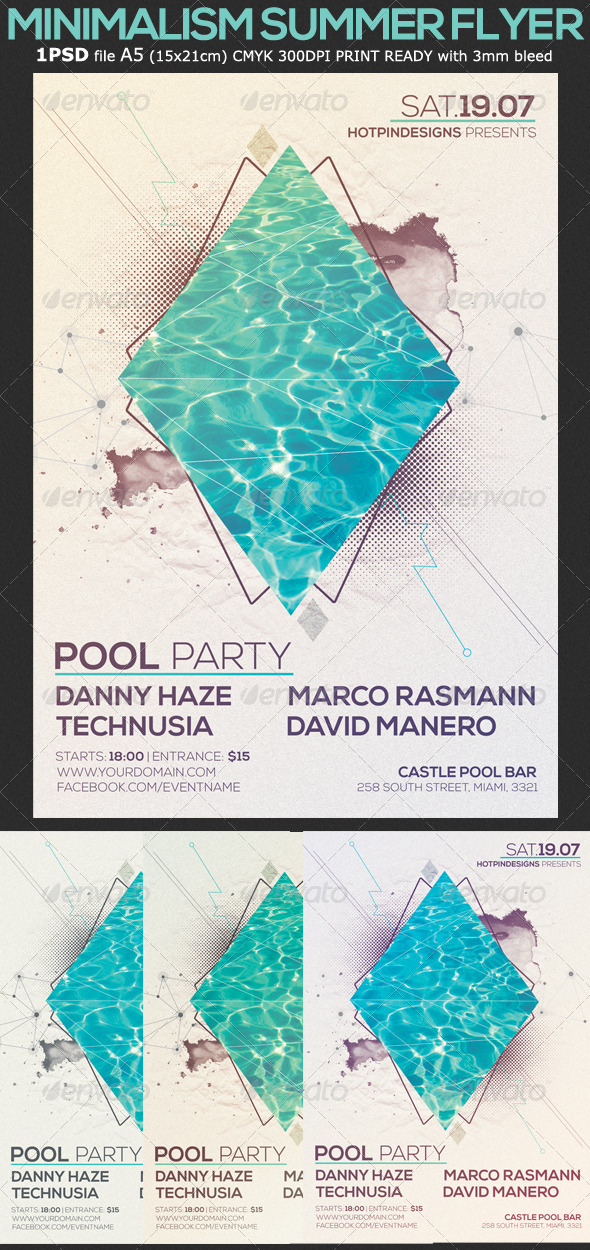 Minimalism Summer Pool Party Flyer By Hotpin  Graphicriver