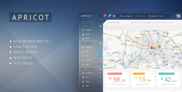 Apricot Navigation Admin Dashboard Template - Admin Templates Site Templates