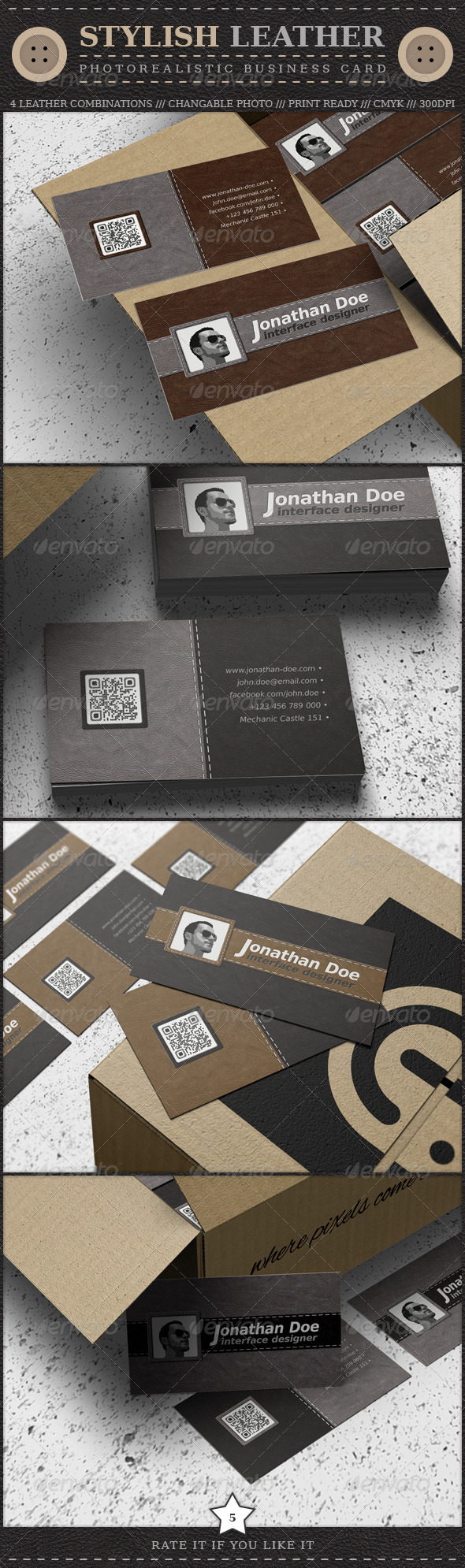 Stylish Leather Business Card - Retro/Vintage Business Cards