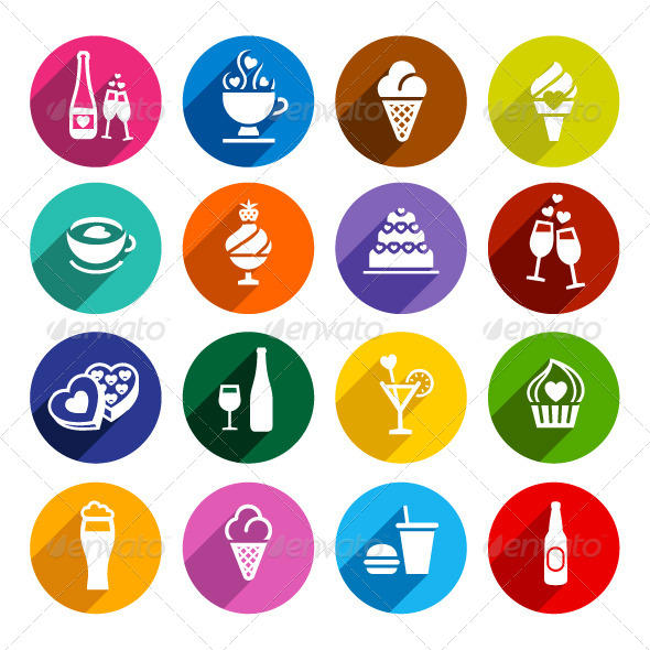 Flat Food Icons Set - Decorative Symbols Decorative