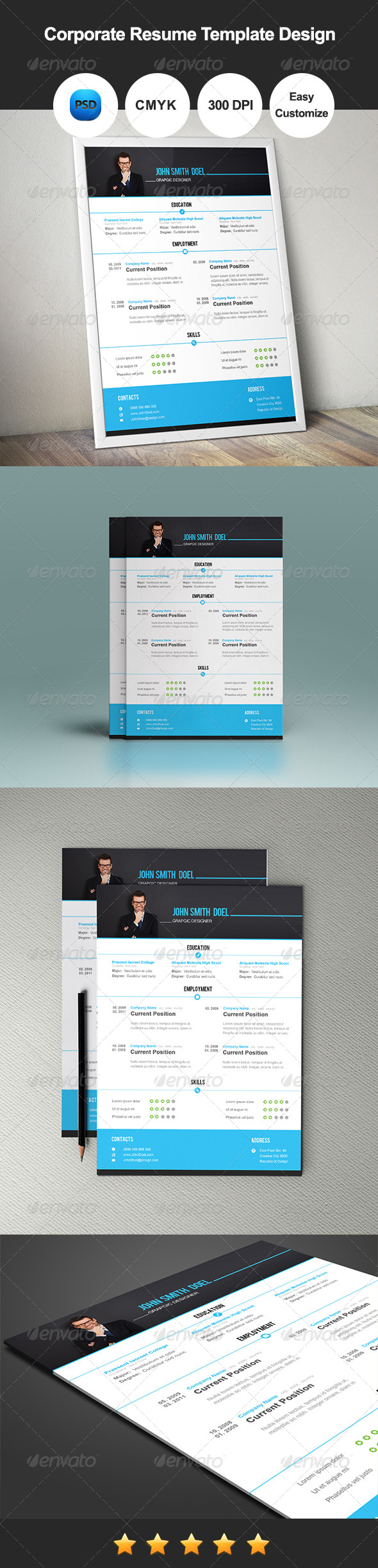 corporate resume template design resumes stationery