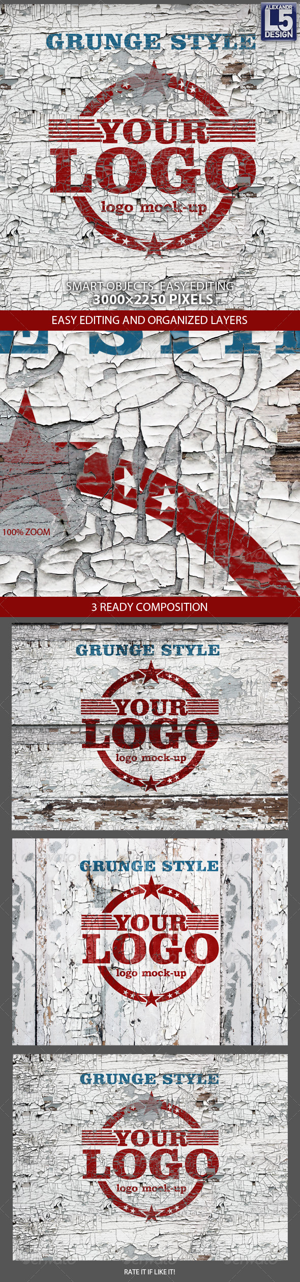 Grunge Wall Logo Mock-up - Logo Product Mock-Ups