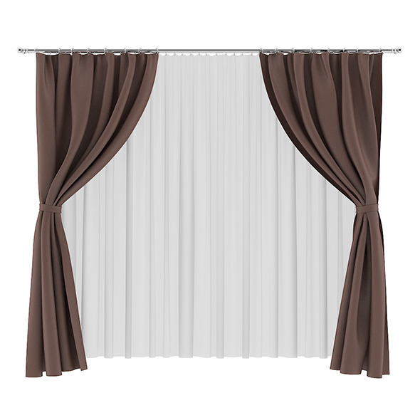 Brown and White Curtains - 3DOcean Item for Sale