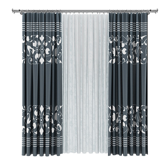 Dark and White Curtains - 3DOcean Item for Sale