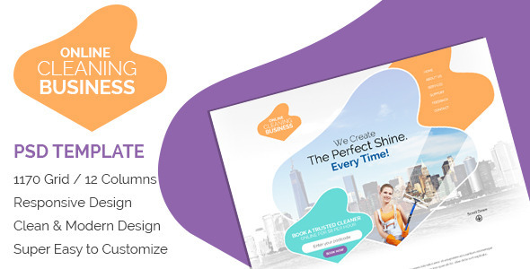 Online CLeaning  Business - Miscellaneous PSD Templates