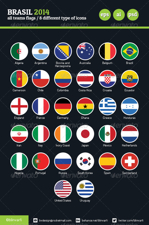 Brasil Football Cup 2014 Team Flags / 8 Versions - Web Icons