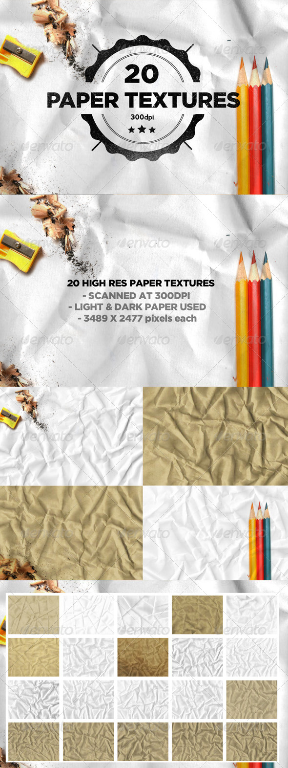 20 Folded Paper Textures - Paper Textures