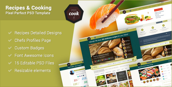 PSDCook – Recipes & Cooking PSD Design