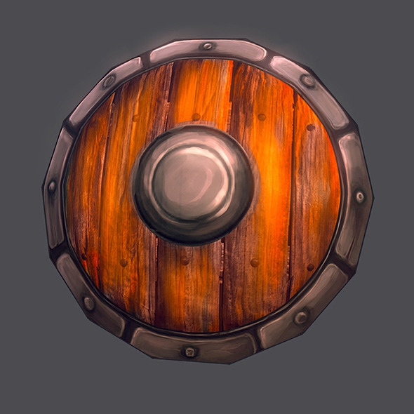 Low poly shield hand painted  - 3DOcean Item for Sale