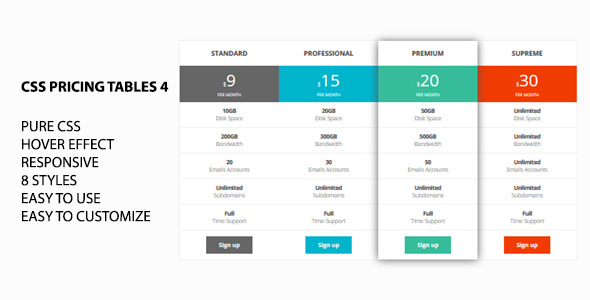 css pricing tables 4 by marcoarib codecanyon