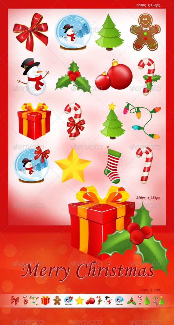 Set of 16 Christmas Icons - Seasonal Icons
