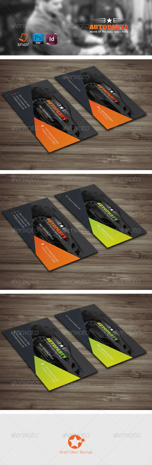 auto services business card templates by grafilker graphicriver