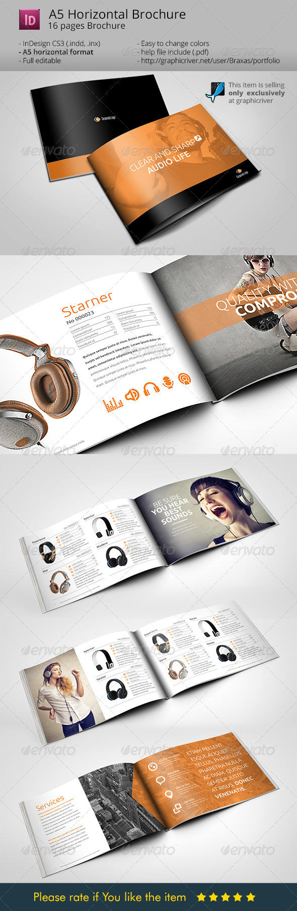 horizontal brochure template horizontal brochure a5 audio life by braxas graphicriver
