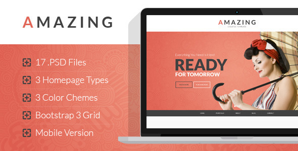 Amazing – Multipurpose Onepage & Multipage PSD Template