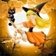 Witch and Her Cat Familiar Flying on Broomstic - GraphicRiver Item for Sale