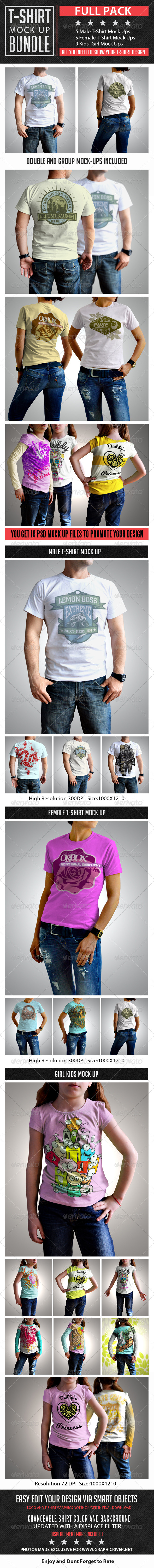 T-Shirt Mock Up Bundle - T-shirts Apparel